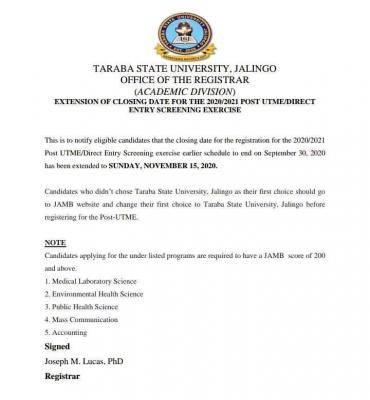 TASU extends Post-UTME registration deadline for 2020/2021