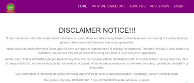 Wesley University disclaimer notice to the public