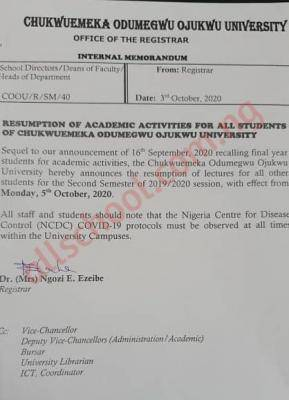 COOU Resumption Date for Completion of 2019/2020 Session