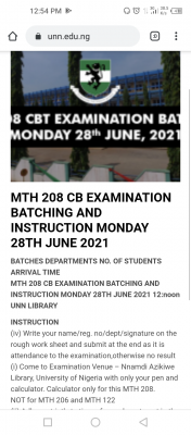 UNN MTH 208 CB examination batching and instructions for 28th June, 2021