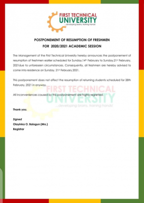 First Technical University postpones resumption of fresh students for 2020/2021 session