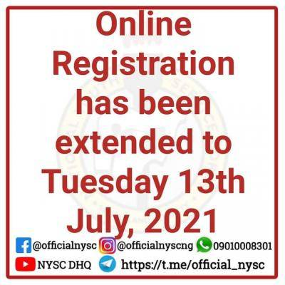 NYSC extends 2021 Batch B online registration