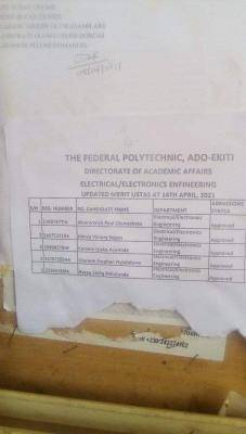 Fed Poly Ado-ekiti ND morning updated Merit admission list, 2020/2021
