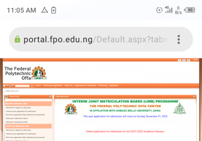 Offa Poly IJMB admission form for 2021/2022 session