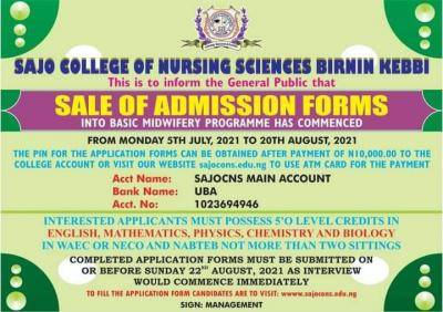 Sajo College of Nursing Sciences Basic Midwifery Form 2021/2022