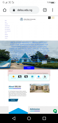 DELSU supplementary post UTME screening exercise for 2020/2021 academic session