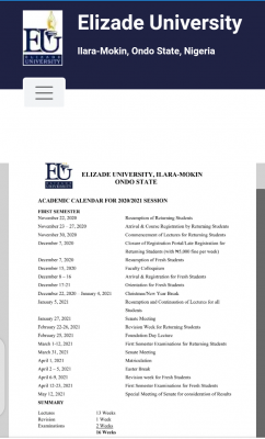 Elizade University academic calendar for the 2020/2021 session