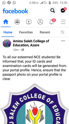 Aminu Saleh COE notice to NCE students