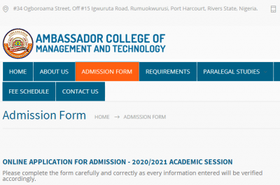 Ambassador College of Management and Technology admission form for 2020/2021