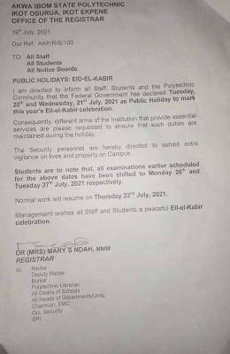 Akwa Poly announces notice to staff and students