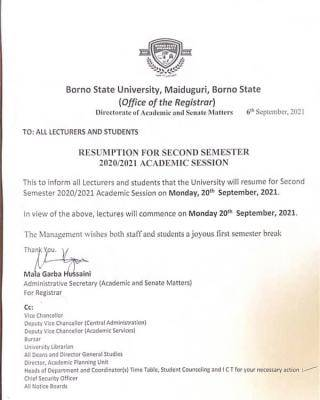 BOSU announces 2nd semester resumption for 2020/2021 session