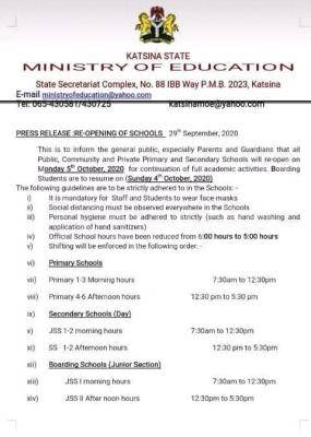 Kastina State Ministry of Education announces resumption date