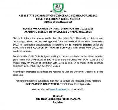 KSUST notice on change of institution for the 2020/2021 academic session into college of health science