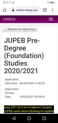 UNIBEN extends JUPEB Pre-Degree registration deadline for 2020/2021 session