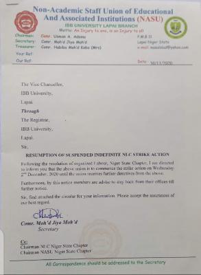 NASU IBBU embarks on strike action
