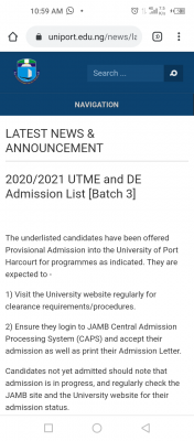 UNIPORT 3rd Batch admission list for 2020/2021 session