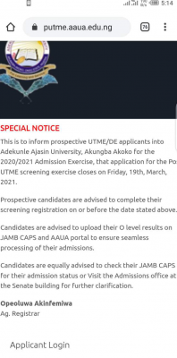 AAUA 2020 Post-UTME registration deadline and instructions to candidates