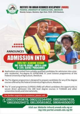 FUNAAB Pre-degree, JUPEB and IJMB admission forms, 2020/2021