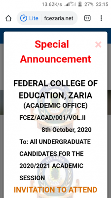 FCE Zaria Degree Post-UTME screening date and details for 2020/2021 session