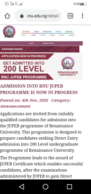 Renaissance University JUPEB admission form for 2020/2021 session