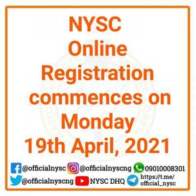NYSC online registration for 2021 Batch A stream II commences April 19th