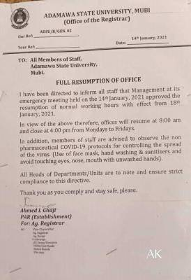 Adamawa state University full resumption notice to staff