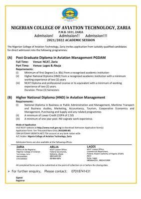 NCAT admission form for 2021/2022 session