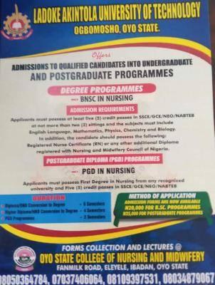 LAUTECH announces admission into nursing programmes