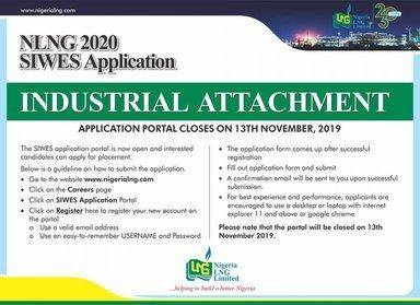 NLNG SIWES (Industrial Training)/Internship Application, 2020