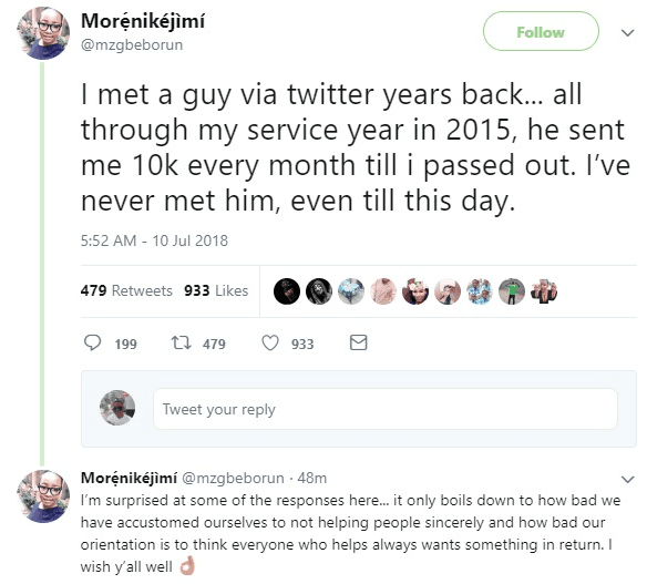 NYSC: Lady Says a Stranger on Twitter Paid Her Monthly During her Service Year, See How People Reacted