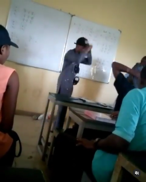 UNIUYO Engineering student caught on camera assaulting a lecturer (video)