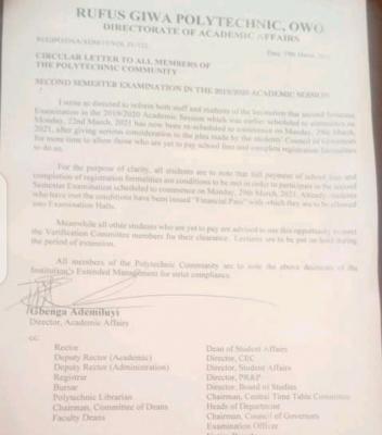 RUGIPO notice on postponement of 2nd semester exam, 2019/2020