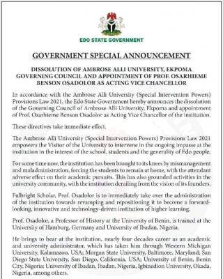 Edo Government appoints acting Vice Chancellor for AAU