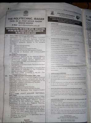 Ibadan Poly Post-UTME 2018: Cut-off mark, Eligibility And Registration Details