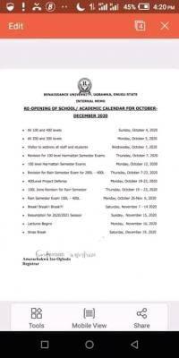 Renaissance University resumption dates and academic calendar