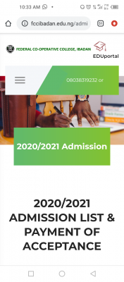 Federal Cooperative College, admission list for 2020/2021 session