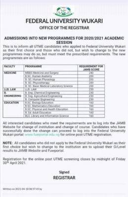 FUWukari admissions into new programmes for 2020/2021 session