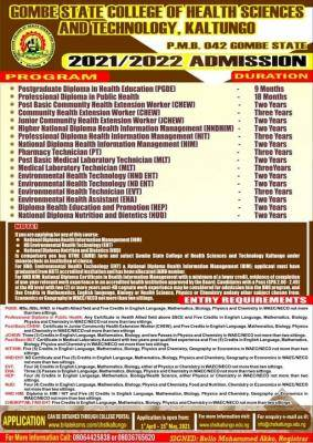 Gombe State College of Health sciences admission form, 2021/2022