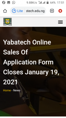 YABATECH notice on new deadline for Post-UTME, HND and part-time applications, 2020/2021