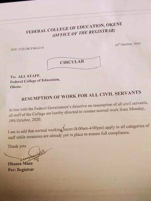 Federal College of Education Okene Issues Resumption Notice to Staff