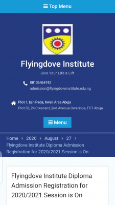 Flyingdove Institute of Information Technology, Abuja 2020/2021 admission form