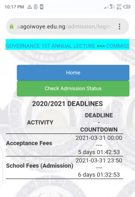 OOU extends deadline for payment acceptance fee, 2020/2021