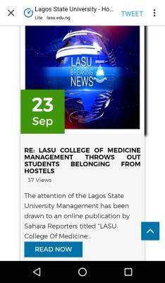 LASU responds to allegation of throwing out students' belongings from hostels