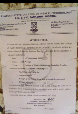 Plateau State College of Health Tech. announces aptitude test for 2020/2021 session