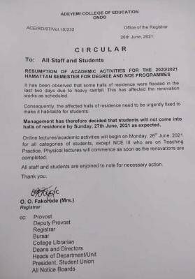 ACEONDO notice on resumption of academic activities for 2020/2021 session