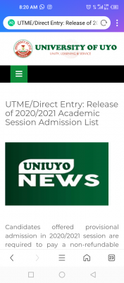 UNIUYO UTME/Direct Entry 2020/2021 Admission List now on the school's portal