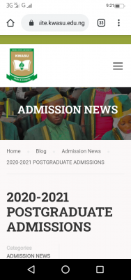 KWASU postgraduate admission form for 2020/2021 session