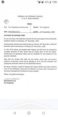 Federal Polytechnic, Nekede notice on