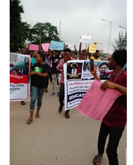 UNIZIK students protest against hike in school fees, others