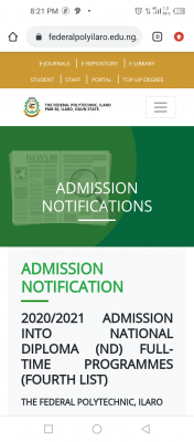 Ilaro Poly ND 4th batch Full-time Admission List, 2020/2021